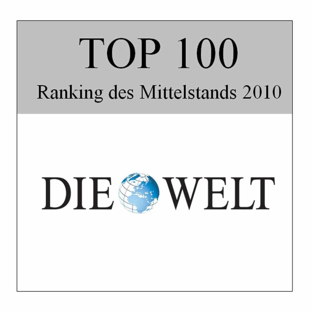 Onderscheiding Die Welt Top 100 voor Schwank GmbH.